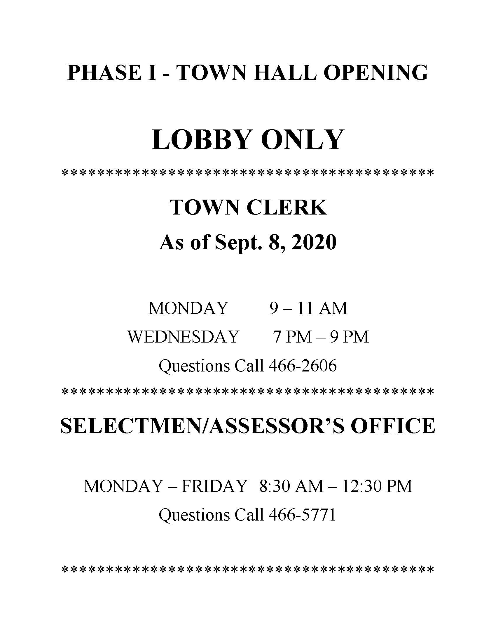 Phase 1 as of Sept. 8 lobby hours